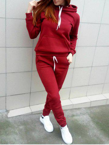 Shop Hooded Front Pocket Sweat Suit RED M