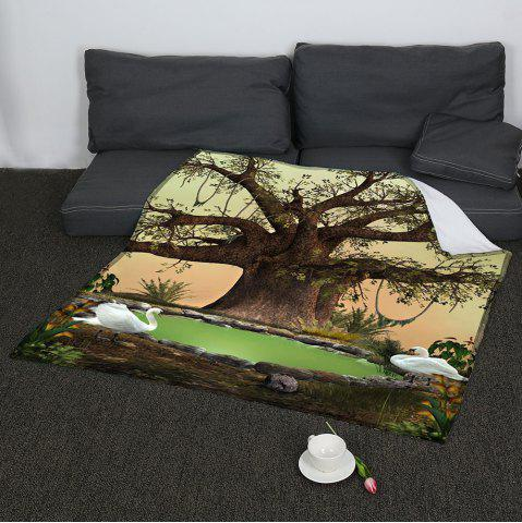 Store Life Tree Swans Lake Print Coral Fleece Blanket GREEN W59INCH*L70INCH