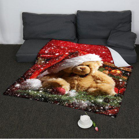 Fashion Coral Fleece Christmas Bear Pattern Blanket COLORFUL W59 INCH * L79 INCH
