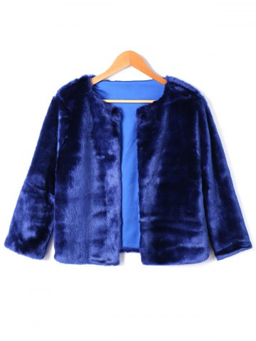 Best Open Front Faux Fur Short Coat