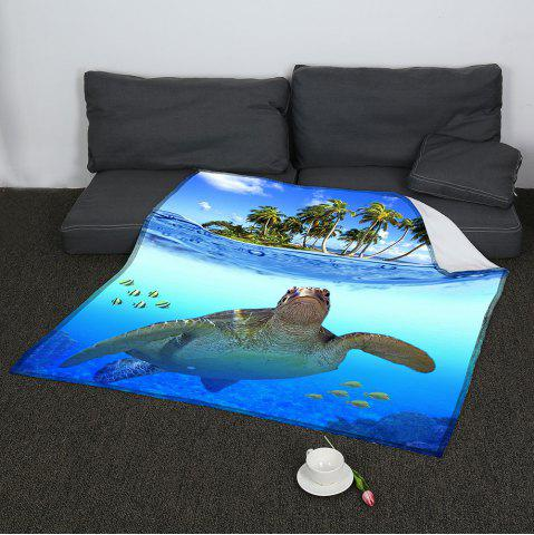 Outfits Coral Fleece Sea Turtle Pattern Blanket BLUE W47INCH*L59INCH