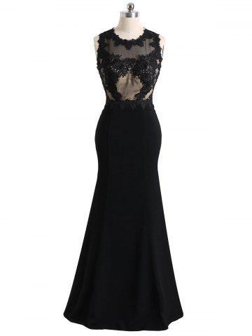 Online Mesh Panel Floral Lace Maxi Formal Evening Dress
