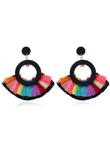 Unique Vintage Circle Sector Multicolor Tassel Earrings