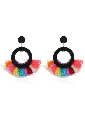 Trendy Vintage Circle Sector Multicolor Tassel Earrings