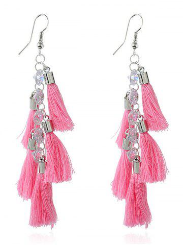 Store Rhinestone Statement Tassels Chain Earrings PINK