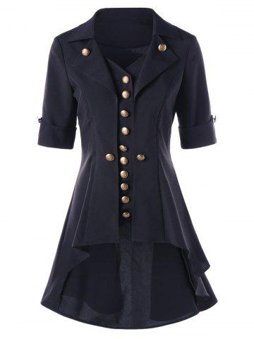 Hot High Low Button Tunic Coat