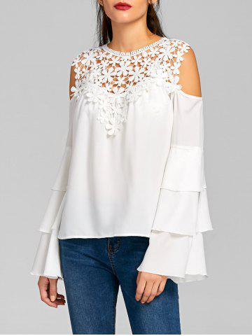 Unique Cold Shoulder Sheer Layered Flare Sleeve Blouse WHITE M