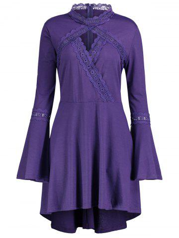 Trendy Plus Size Cut Out Long Sleeve Tunic Top PURPLE XL