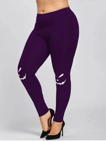 Buy Halloween Plus Size Graphic Leggings PURPLE 5XL