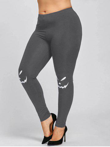 Outfit Halloween Plus Size Graphic Leggings - 5XL GRAY Mobile