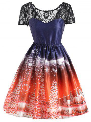 Shops Christmas Tree Vintage Lace Panel Dress JACINTH S
