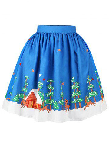 Trendy Christmas Tree Butterfly Elk Print Skirt BLUE XL