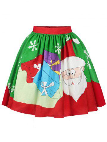 Online Christmas Santa Claus Snowflake Printed Skirt COLORMIX XL