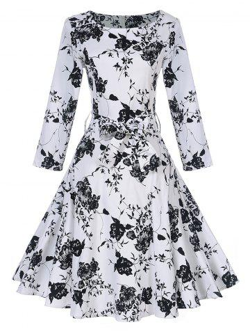 Outfit Vintage Floral Print Skater Pin Up Dress BLACK WHITE S