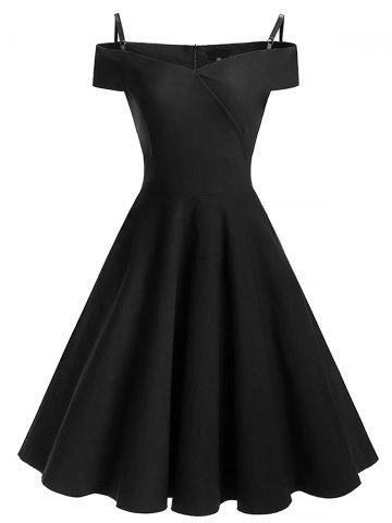 Vintage épaule froide Pin Up robe patineuse Noir XL