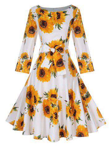 Trendy Vintage Sunflower Print Skater Pin Up Dress - 2XL YELLOW Mobile
