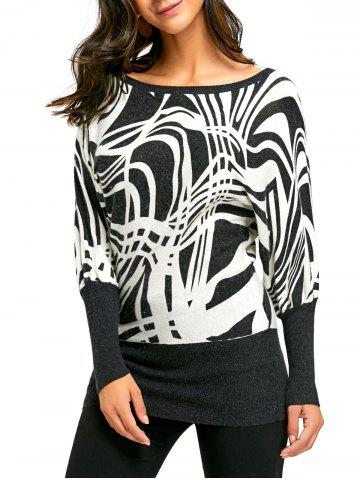 Discount Ribbed Graphic Long Sleeve Sweater WHITE AND BLACK M