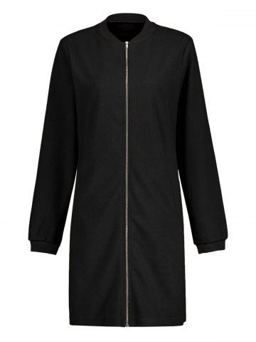 Discount Slim Fit Zip Up Long Coat BLACK S
