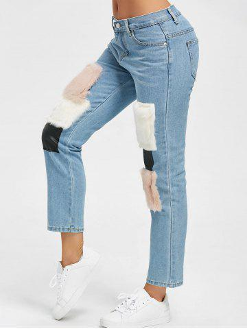 Fancy Faux Fur Print Ninth High Waist Jeans - L DENIM BLUE Mobile