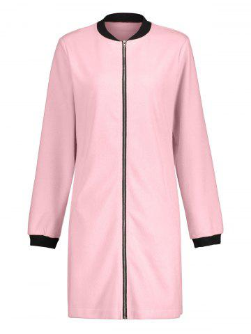 Slim Fit Zip Up Long Coat ROSE PÂLE L