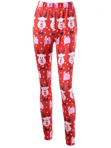 Fashion Cartoon Print Christmas Leggings COLORMIX M