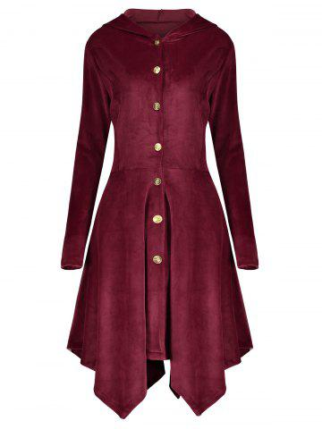 Cheap Velvet Asymmetric Plus Size Button Up Hooded Coat WINE RED 4XL