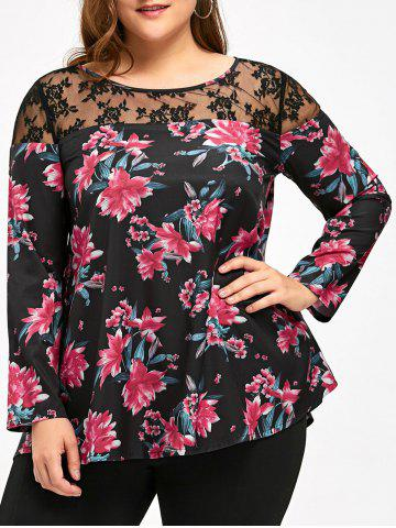 Buy Plus Size Long Sleeve Lace Panel Floral T-shirt