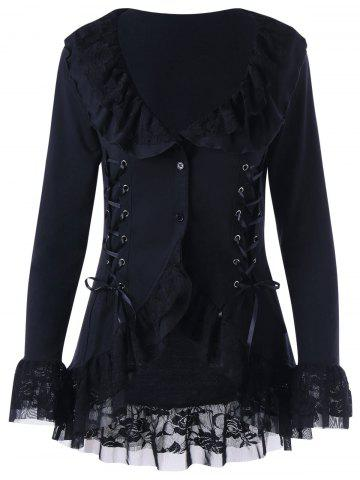Discount Lace Trim Lace Up Gothic Coat