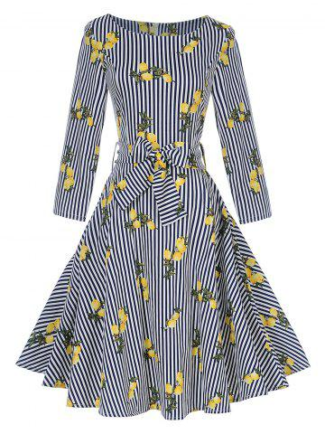 Best Vintage Striped Lemon Print Pin Up Skater Dress