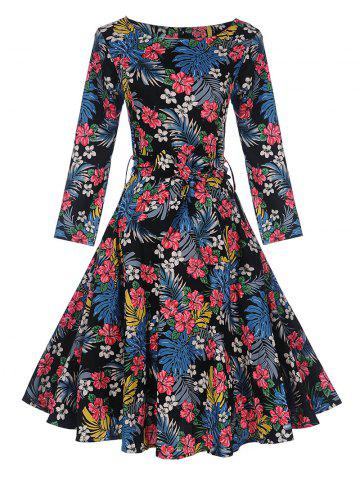Outfit Vintage Tropical Print Pin Up Skater Dress
