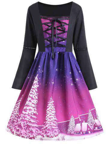 Chic Christmas Tree Print Plus Size Lace Up Dress