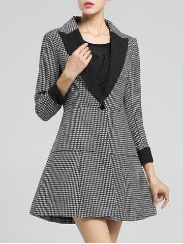 Affordable Houndstooth A Line Coat