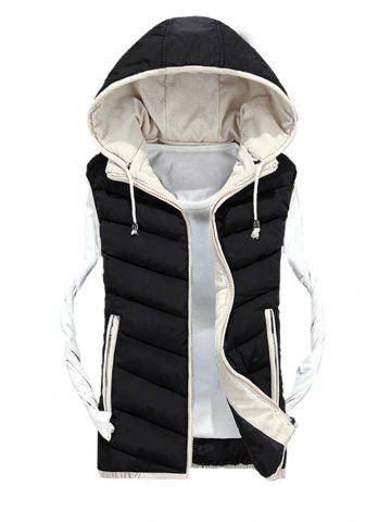 Trendy Detachable Hood Zip Up Quilted Vest