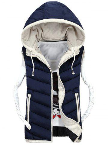 Sale Detachable Hood Zip Up Quilted Vest
