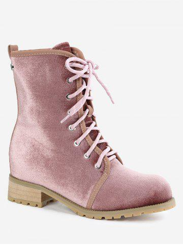 Buy Lace Up Rivets Low Heel Boots