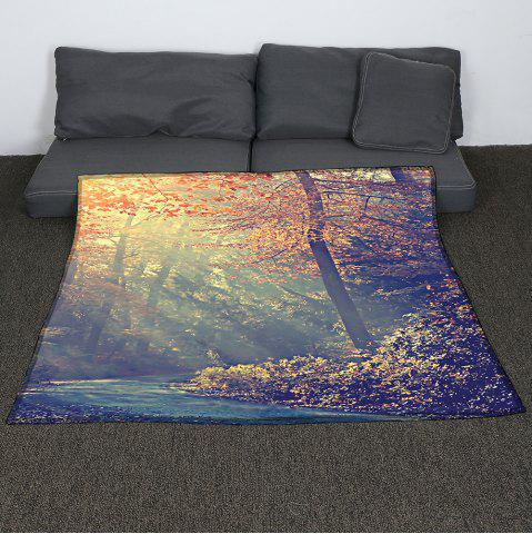 Fashion Coral Fleece Maple Pattern Blanket