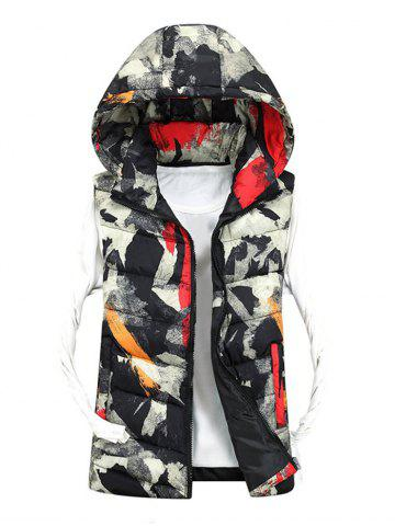 Unique Zip Up Camo Hooded Quilted Vest