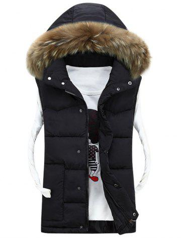 Discount Faux Fur Detachable Hood Quilted Vest