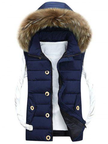 Trendy Zip Up Detachable Hood Padded Vest