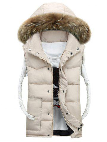 Cheap Faux Fur Detachable Hood Quilted Vest