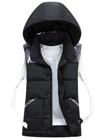 Chic Detachable Hood Camo Pattern Quilted Vest