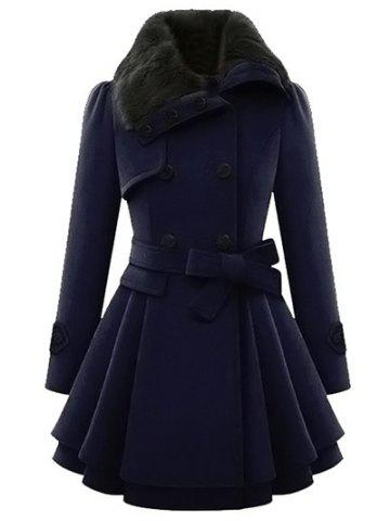 Fancy Skirted A Line Coat with Belt