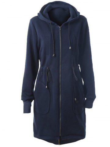 Buy Hooded Drawstring Zip Up Coat