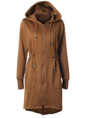 Outfit Hooded Drawstring Zip Up Coat