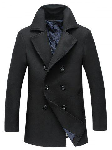 Cheap Double Breasted Longline Woolen Peacoat