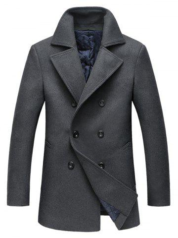 Fancy Double Breasted Longline Woolen Peacoat