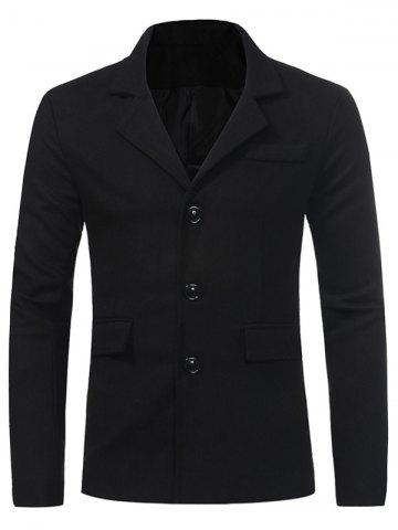 Hot Single Breasted Pocket Woolen Coat