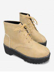 Sewing Thread Lace Up Vintage Ankle Boots -
