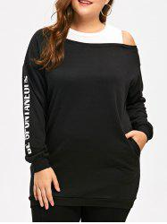 Cold Shoulder Plus Size Faux Two Piece Sweatshirts -