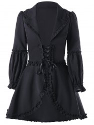 Lapel Collar Ruffle Lace Up Coat -